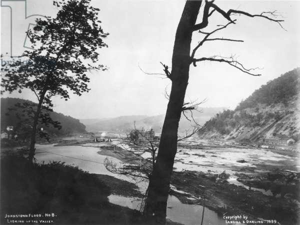 JOHNSTOWN FLOOD, 1889 Johnstown, Pennsylvania, May 31, 1889. Looking up the flooded Conemaugh Valley, 1889.
