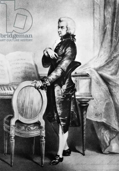 WOLFGANG AMADEUS MOZART (1756-1791). Austrian composer. Lithograph, 19th century.