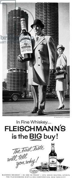 AD: WHISKEY, 1964 American advertisement for Fleischmann's whiskey. Photograph, 1964.