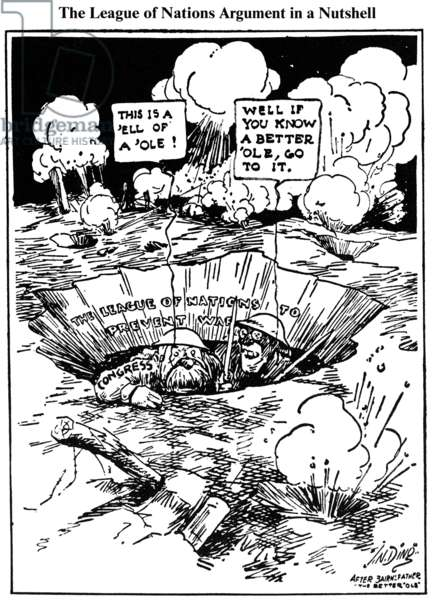 CARTOON: LEAGUE OF NATIONS A 1919 cartoon by J.N. ('Ding') Darling on Woodrow Wilson's efforts to gain Congressional support for the Versailles Treaty and the League of Nations.