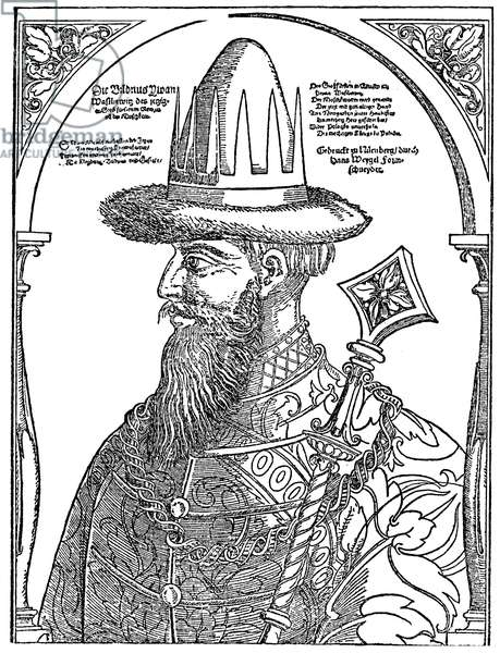 IVAN IV VASILEVICH (1530-1584) Called Ivan the Terrible. Ruler of Russia as grand duke (1533-1547) and czar (1547-1584). Woodcut, German, 16th century.