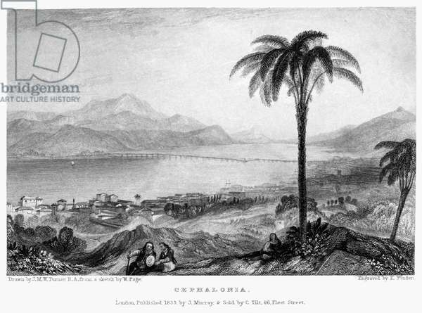 GREECE: KEFALONIA, 1833 View of the Greek island of Kefalonia (Cephalonia), in the Ionian Sea. Steel engraving, English, 1833, by Edward Finden after Joseph Mallord William Turner.