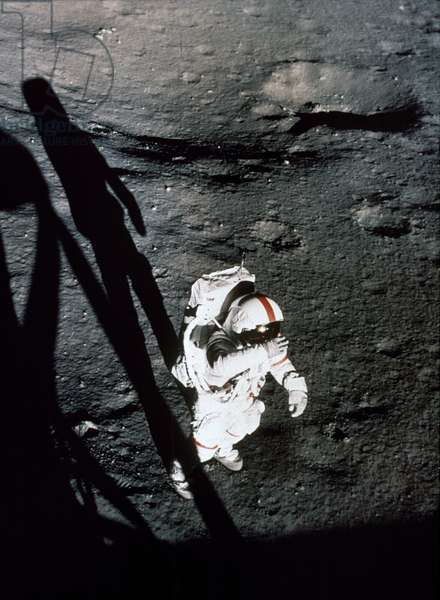 APOLLO 14 Alan Shepard on surface photographed by Edgar Mitchell through the window of lunar module, 1971.