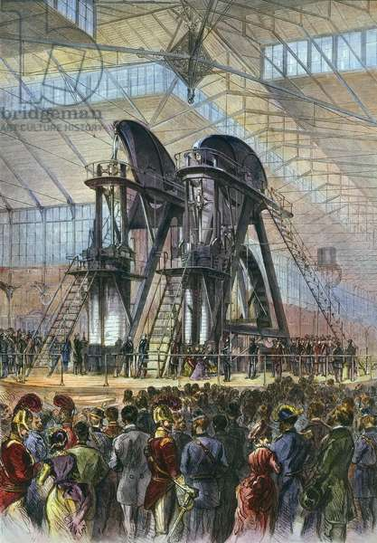 GRANT & BRAZILIAN EMPEROR President Ulysses S. Grant and Brazilian Emperor Dom Pedro II starting the Corliss Engine at the opening ceremonies of the Philadelphia Centennial Fair in 1876: contemporary wood engraving.