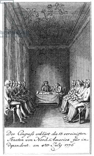 DECLARATION OF INDEPENDENCE Signing of the Declaration of Independence at Independence Hall in Philadelphia, 4 July 1776. Contemporary German etching by Berger.