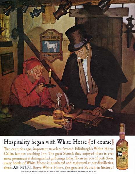 AD: WHISKEY, 1961 American advertisement for White Horse Whiskey, 1961.