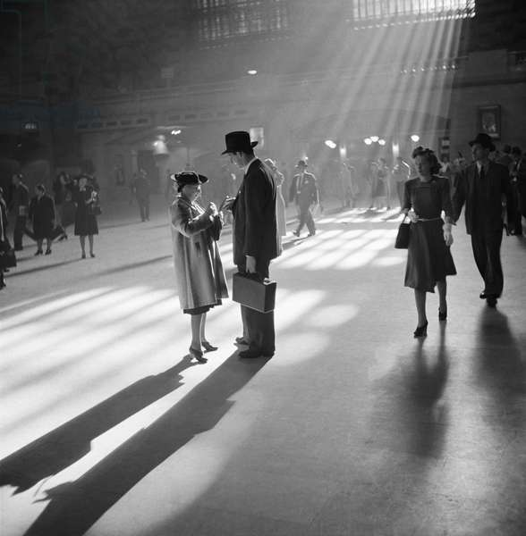 GRAND CENTRAL STATION, 1941 Passengers at Grand Central Terminal in New York City. Photograph by John Collier, 1941.