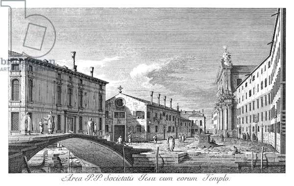 VENICE: CAMPO DEI GESUITI Campo dei Gesuiti in Venice, Italy, with Ponte dei Gesuiti in the foreground. To the right is the Jesuits' church. Engraving, 1735, by Antonio Visentini after Canaletto.