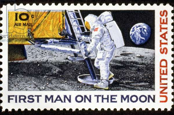 FIRST MAN ON THE MOON U.S. commemorative postage stamp, 1969.