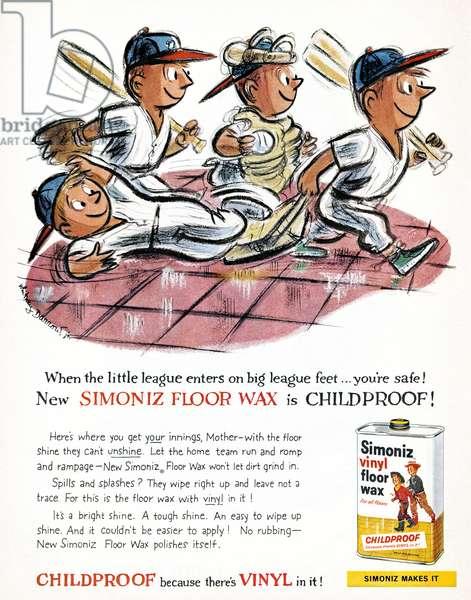 AD: FLOOR WAX, 1959 American advertisement for Simoniz Vinyl Floor Wax, 1959.