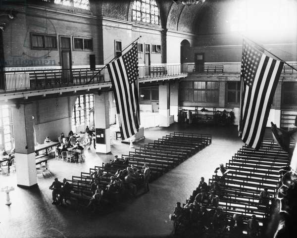 ELLIS ISLAND, POST 1924 The 'Great Hall' at the immigration station in New York Harbor, used, after 1924, as the main detention room for immigrants held for investigation.