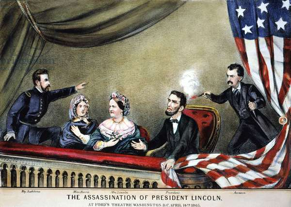 LINCOLN ASSASSINATION The assassination of President Abraham Lincoln by John Wilkes Booth at Ford's Theatre, Washington, D.C., 14 April 1865. Lithograph, 1865, by Currier & Ives.