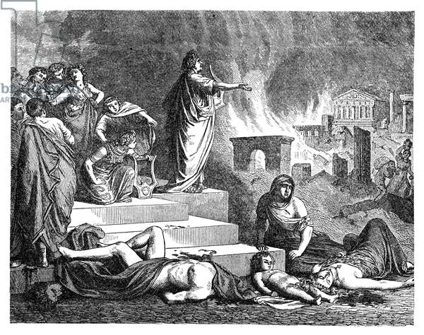 NERO (37-68 A.D.) Roman emperor, 54-68 A.D. Nero playing his lyre at the burning of Rome in 64 A.D. Wood engraving, 19th century.