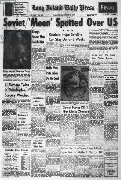 SPUTNIK I, 1957 'Soviet 'Moon' Spotted Over US.' Front page of the Long Island Daily Press reporting on Sputnik I, the first human-made object to orbit the Earth. 5 October, 1957.