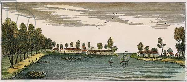 NEW ORLEANS, 1719 View of New Orleans, Louisiana in 1719. After a contemporary French engraving.