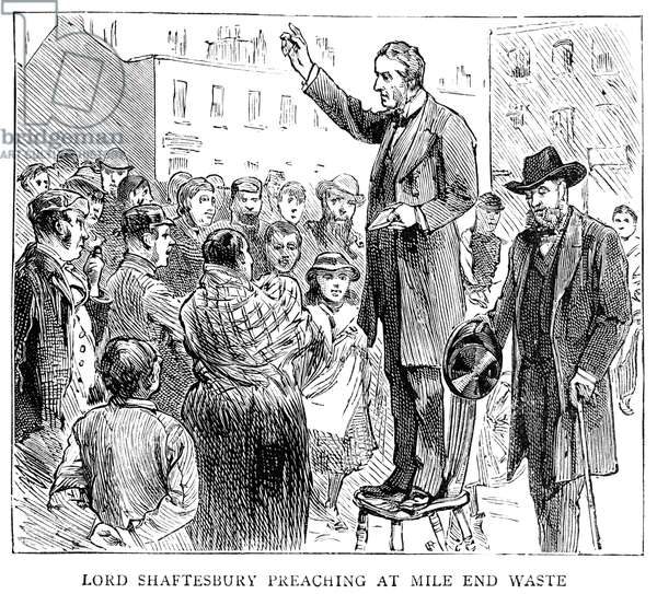 EARL OF SHAFTESBURY (1801-1885). Anthony Ashley-Cooper, 7th Earl of Shaftesbury. English politician, reformer, and philanthropist. Lord Shaftesbury preaching in London. Wood engraving from an illustrated biography published in 'The Graphic' after his death, 1885.