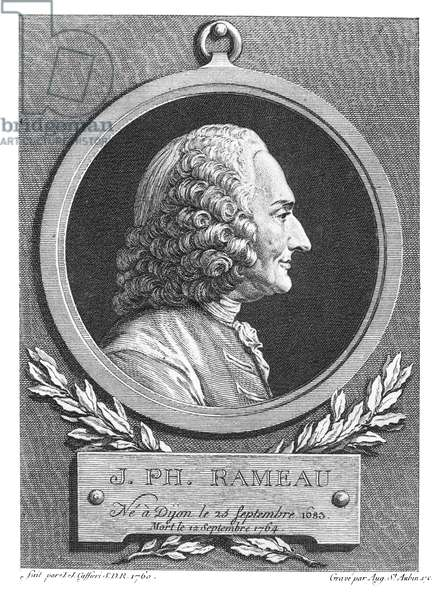 JEAN-PHILLIPPE RAMEAU (1683-1764). French composer and music theorist. Copper engraving, 1762, by Augustin de Saint-Aubin after a bust, 1760, by Jean-Jacques Caffieri.