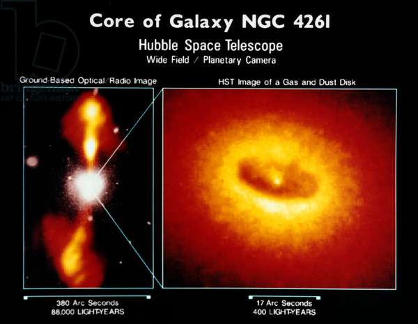 SPACE: GALAXY, 1992 The NGC 4261 galaxy in the Virgo Cluster, 45 million light years from Earth. Left: Ground-based composite optical/radio view of the galaxy. Right: Photograph by the Hubble Space Telescope of the galaxy core, which presumably harbors a black hole. Images published by NASA, 1992.