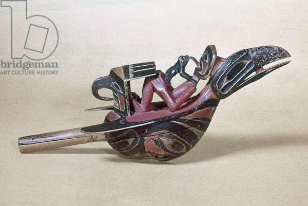 ALASKA: TLINGIT RATTLE Tlingit carved wooden rattle in the shape of a raven, from Alaska.
