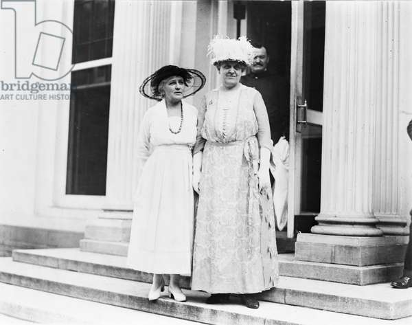 CATT & GARDENER, c.1920 American reformers and women's rights advocates Helen Gardener (1853-1925) and Carrie Clinton Chapman Catt (1859-1947), leaving the White House in Washington, D.C., c.1920.