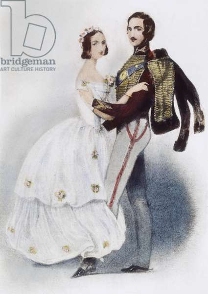 VICTORIA & ALBERT WALTZING Queen Victoria and Prince Albert of England waltzing. English lithograph, c.1845.