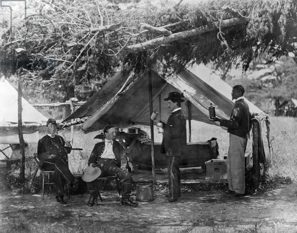 CIVIL WAR: UNION CAMP Major H.H. Humphrey and other officers at camp. Photograph by William Morris Smith, 1865.