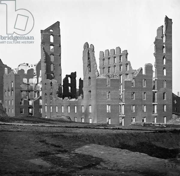 CIVIL WAR: RICHMOND, 1865 Ruined buildings in the burned district of Richmond, Virginia following the American Civil War. Photograph, 1865.