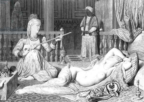 HAREM Odalisque with a slave. Steel engraving after J.A.D. Ingres (1780-1867).