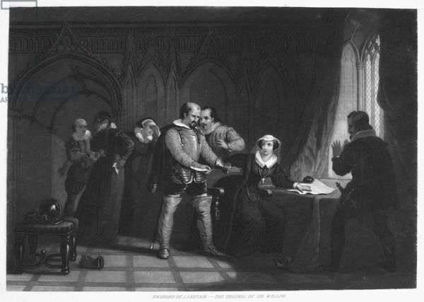 FRIEDRICH SCHILLER (1759-1805). Johann Christoph Friedrich von Schiller. German poet and playwright. Mary, Queen of Scots (1542-1587) signing her abdication in a scene from Schiller's 1800 drama 'Maria Stuart.' Mezzotint by John Sartain, American, 19th century.