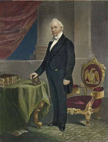 JAMES BUCHANAN (1791-1868) coloured  engraving, 1864.