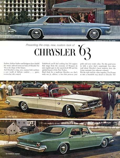 AD: CHRYSLER, 1962 American advertisement for Chrysler. Illustration, 1962.