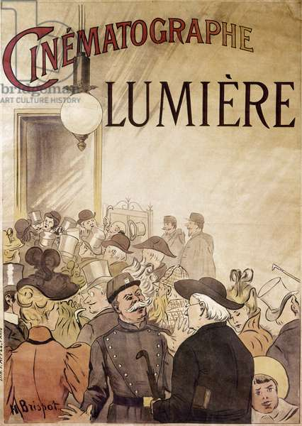 LOUIS LUMIERE (1864-1948) French chemist and motion picture pioneer. French poster for 'Cinématographe Lumière,' the Lumière brothers' films, c.1900.