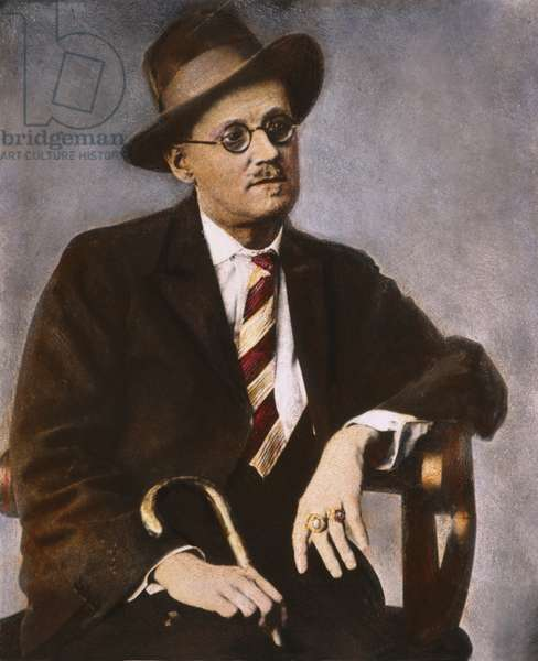 JAMES JOYCE (1882-1941) Irish writer. Oil over a photograph, n.d.