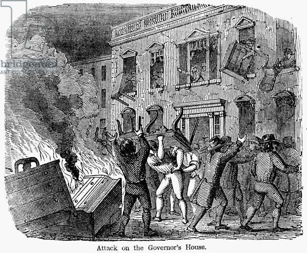 STAMP ACT RIOT, 1765 Sons of Liberty protesting the Stamp Act by attacking the house of Lieutenant Governor Thomas Hutchinson at Boston, Massachusetts, on 26 August 1765. Wood engraving, 19th century.