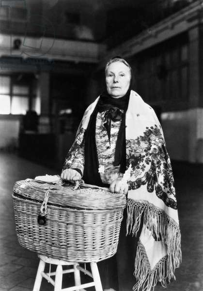 ELLIS ISLAND: IMMIGRANT An immigrant woman photographed at Ellis Island, New York City, late 19th or early 20th century.
