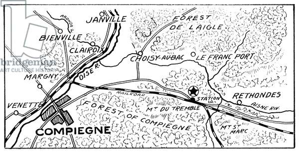 WORLD WAR II: MAP, c.1918 Star on the map indicates the exact place where the Armistice with Germany was signed near Rethondes, France. Map, c.1918.