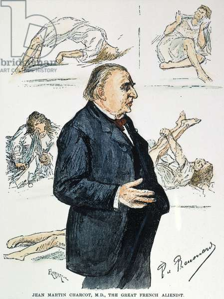 JEAN MARTIN CHARCOT (1825-1893). French neurologist. With patients from his neurological clinic at the Salpetriere, Paris: coloured  engraving, 1887.