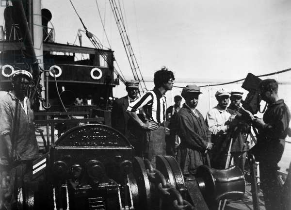 SERGEI EISENSTEIN (1898-1948) Russian motion-picture director. Eisenstein (in cap, right foreground) on the set of the film 'Battleship Potemkin,' 1925.