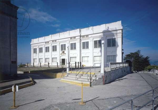 ALCATRAZ, c.1980 Southeast facade of the Alcatraz Federal Penitentiary cellhouse. Photograph by Jet Lowe, c.1980.