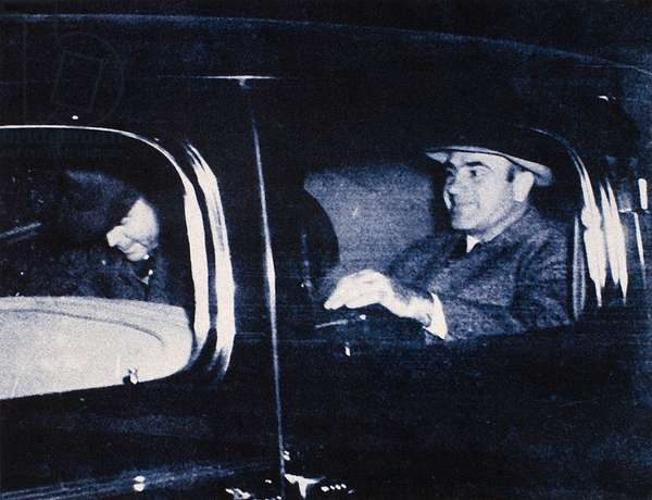 ALPHONSE CAPONE (1899-1947) American gangster. Photographed in Harrisburg, Pennsylvania on 16 November, 1939, after being released from prison.