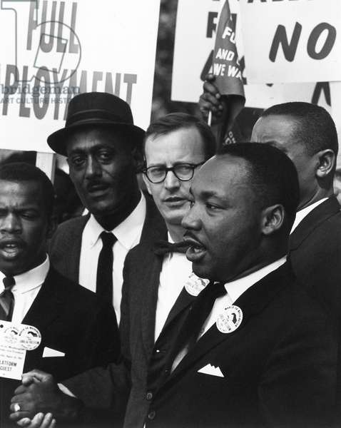 MARTIN LUTHER KING, JR (1929-1968). American cleric and civil rights leader. With Mathew Ahmann, Executive Director of the National Catholic Conference for Interracial Justice at the March on Washington. Photograph, 28 August 1963.