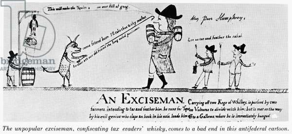 CARTOON: WHISKEY TAX, 1794 An anti-government cartoon siding with the Pennsylvania organisers of the Whiskey Rebellion who opposed the taxation power of Congress. Cartoon, 1794.