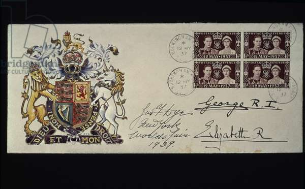 CORONATION STAMP, 1937 British Coronation cover autographed by King George VI and Queen Elizabeth, 1937.