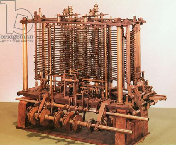 BABBAGE'S CALCULATOR, 1860s A scaled-down version of Charles Babbage's (1791-1871) Analytical Engine, constructed in the 1860s.