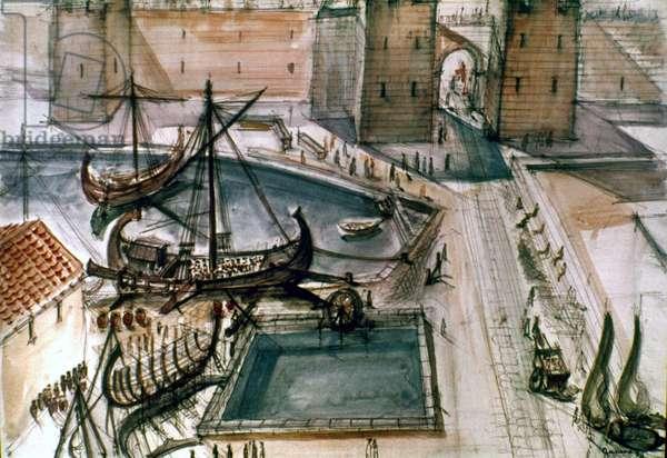 MARSEILLES, c100 A.D Reconstruction of Roman port of Marseilles, c100 A.D.