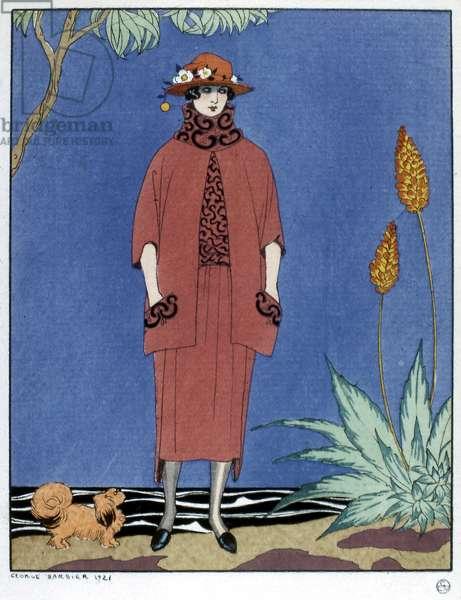 WOMEN'S FASHION, 1921 'A Palm Beach.' Fashion plate by George Barbier for the French magazine 'La Gazette du Bon Ton,' 1921.