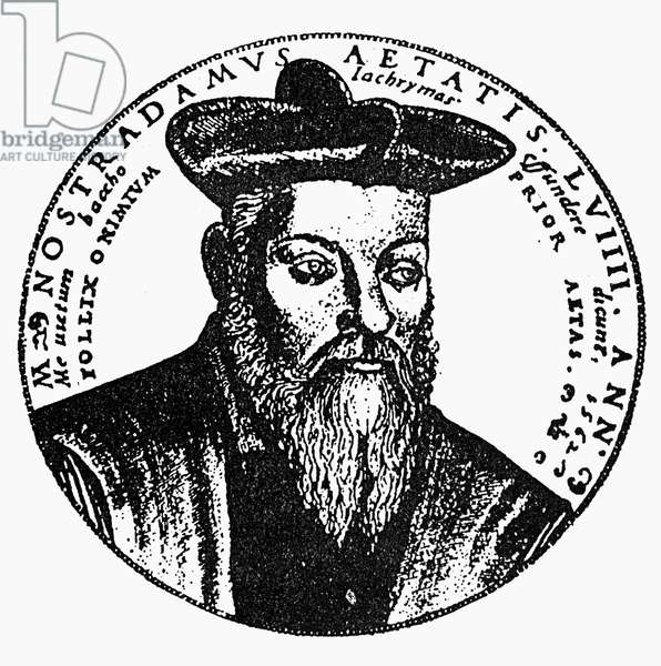NOSTRADAMUS (1503-1566) French physician and astrologer. Line engraving, 16th century.