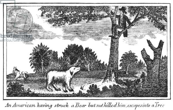 LEWIS & CLARK: BEAR, 1800s Escaping from a bear during the Lewis & Clark Expedition: copper engraving, 1811, from Patrick Gass' Journal of the Lewis & Clark Expedition.