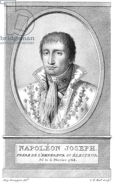JOSEPH BONAPARTE (1768-1844) King of Naples (1806-1808) and of Spain (1808-1814); elder brother of Napoleon Bonaparte. Line engraving, French, 19th century.