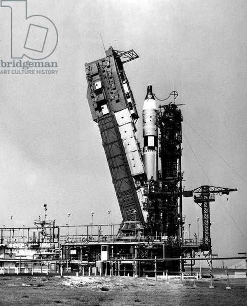 GEMINI IV: LAUNCH, 1965 The Gemini IV spacecraft and launch vehicle photographed at Cape Kennedy, Florida, minutes before launch, 3 June 1965.
